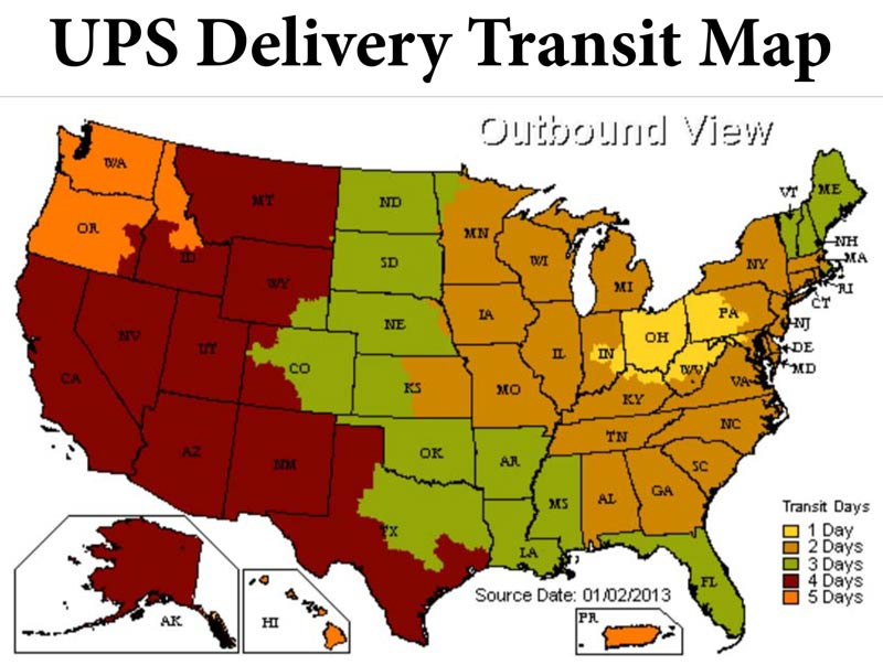 The UPS zone map gives an idea of costs and delivery service required.