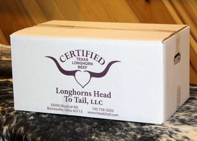 LHT high omega 3 beef is boxed in 50 lb to 65 lb units.